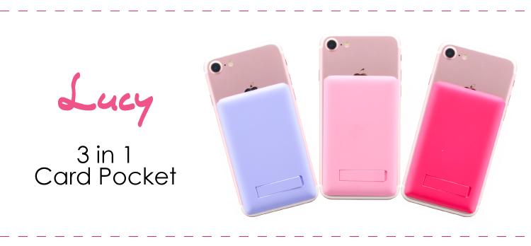 スマートフォン(汎用) 【Lucy】ミラー付きカードポケット