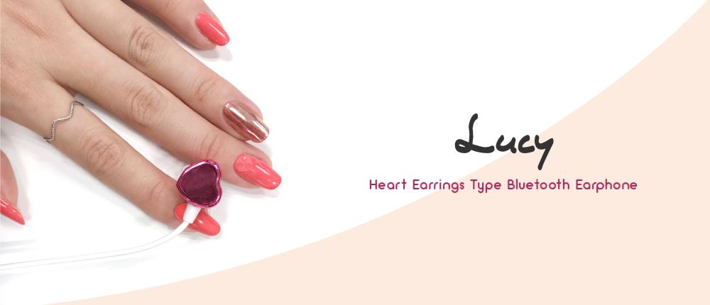 スマートフォン汎用【Lucy】Heart Earrings Type Bluetooth Earphone