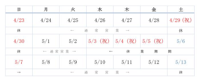 平成29年度 ゴールデンウィーク営業日程カレンダー