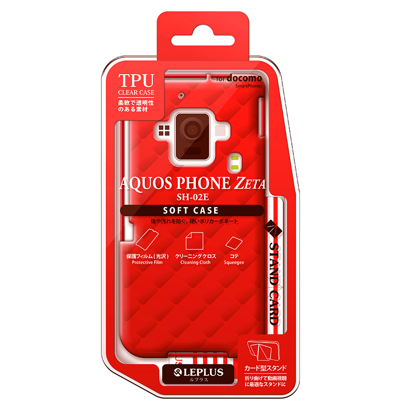 AQUOS PHONE ZETA SH-02E TPUケース(ダイヤ) レッド
