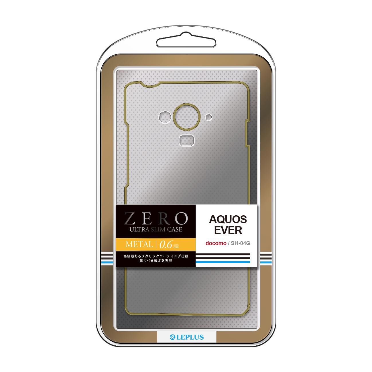 AQUOS EVER SH-04G 超極薄ハードケース「ZERO METAL」 クリア&ゴールド