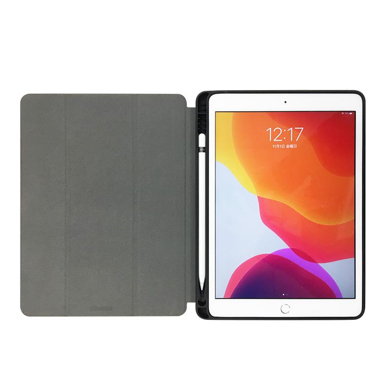iPad 2019 10.2inch Apple Pencil収納付きフラップケース ブラック