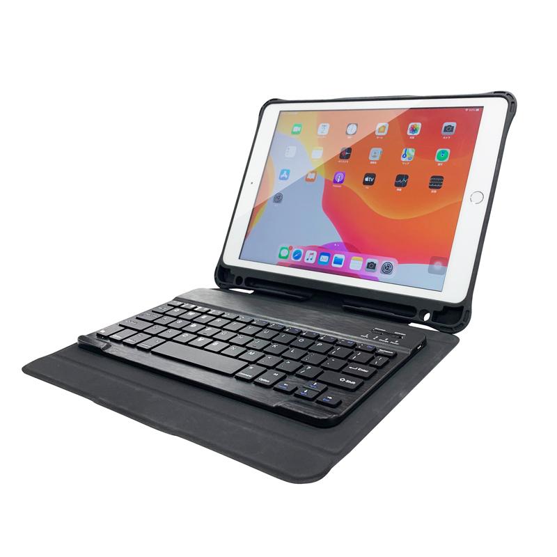 iPad 2020 10.2inch/iPad 2019 10.2inch/iPad Air 2019/iPad Pro 10.5inch iOS対応Bluetoothキーボード付タブレットケース ブラック