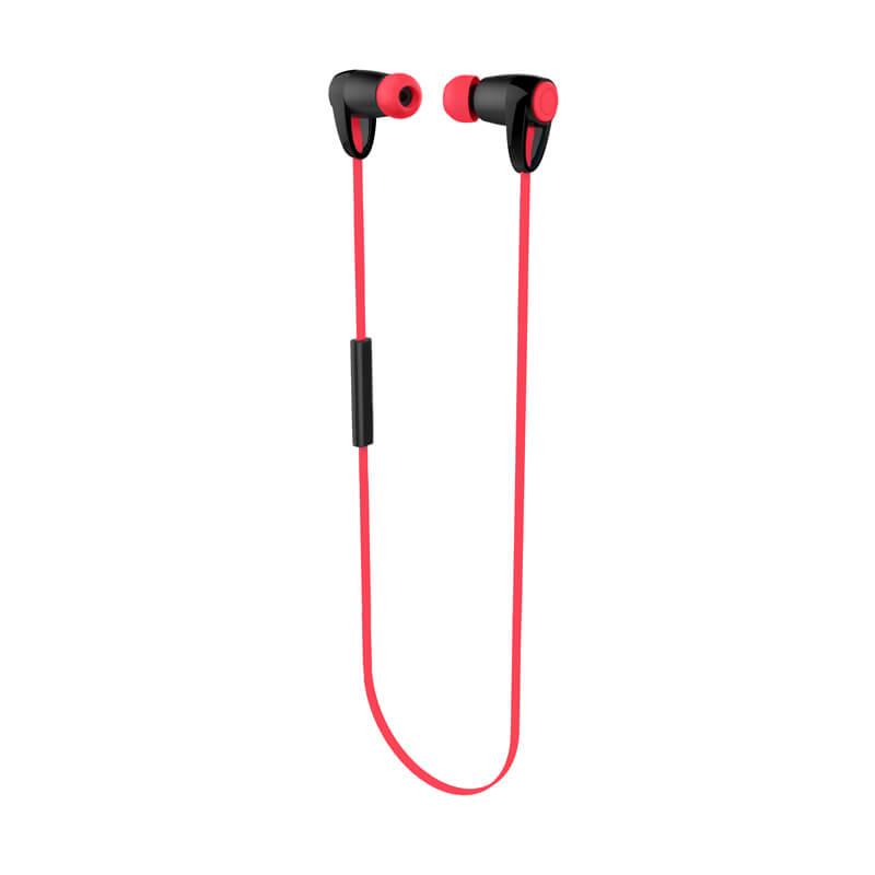 iPhone/スマートフォン ワイヤレスイヤフォン(ボリューム/マイク付)「極の音域」 Bluetoothイヤフォン レッド