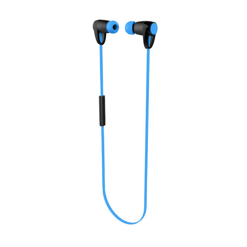 iPhone/スマートフォン ワイヤレスイヤフォン(ボリューム/マイク付)「極の音域」 Bluetoothイヤフォン ブルー