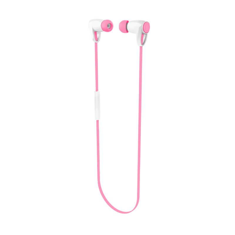 iPhone/スマートフォン ワイヤレスイヤフォン(ボリューム/マイク付)「極の音域」 Bluetoothイヤフォン ピンク
