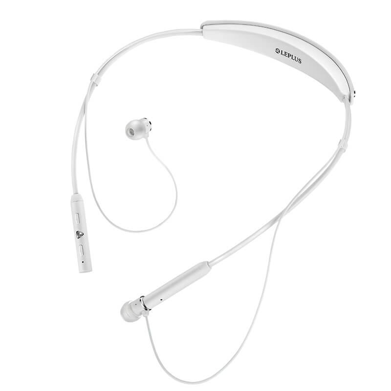 ワイヤレスネックバンドイヤフォン(ボリューム/マイク付)「極の音域 Fly Wear(フライ ウェア)」 ホワイト