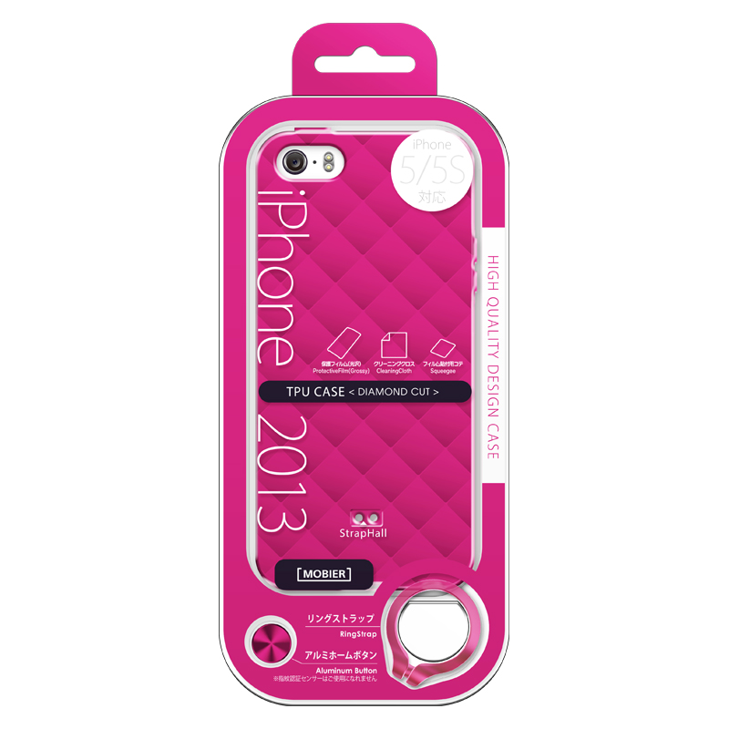iPhone 5/5S TPUケース(ダイヤ) ピンク