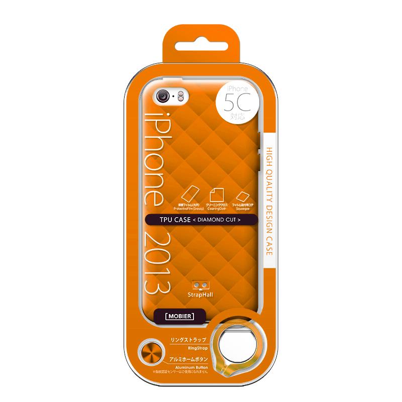 iPhone 5C TPUケース(ダイヤ) オレンジ