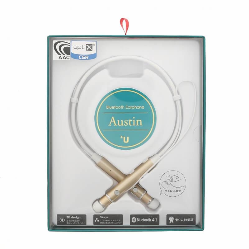スマートフォン(汎用) 【+U】Austin/aptX・AAC対応/Bluetoothイヤホン/ゴールド