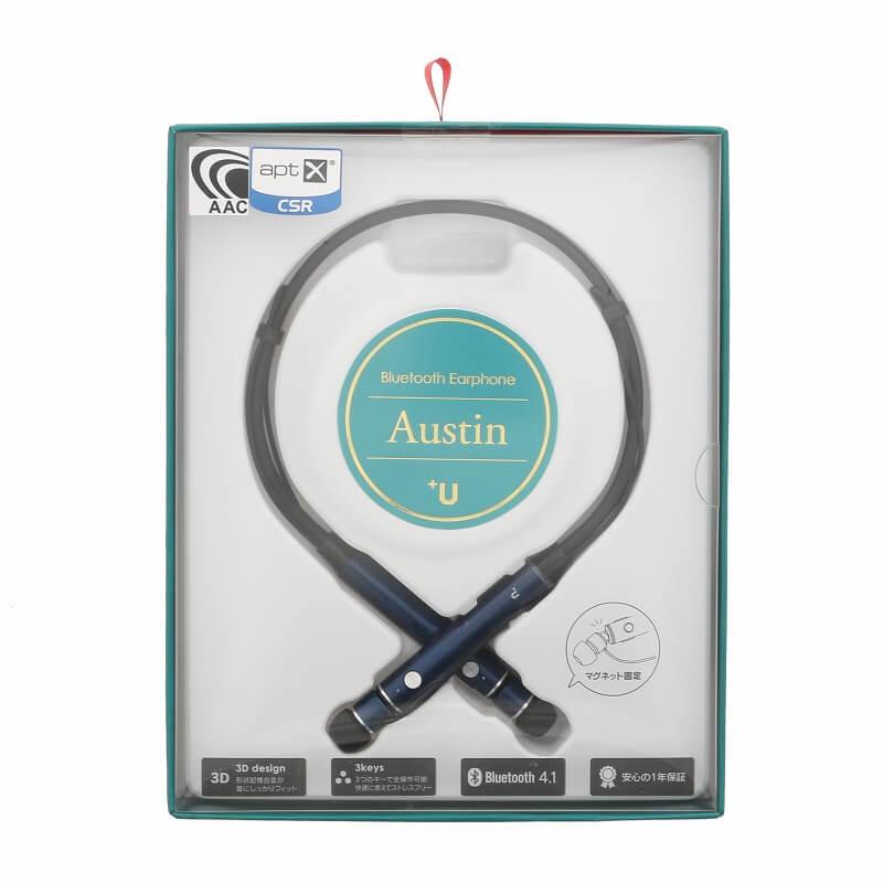スマートフォン(汎用) 【+U】Austin/aptX・AAC対応/Bluetoothイヤホン/ネイビー