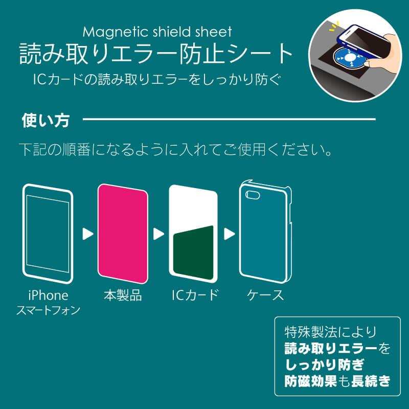 スマートフォン汎用【+U】Magnetic shield sheet(電波干渉・防磁シート)/C