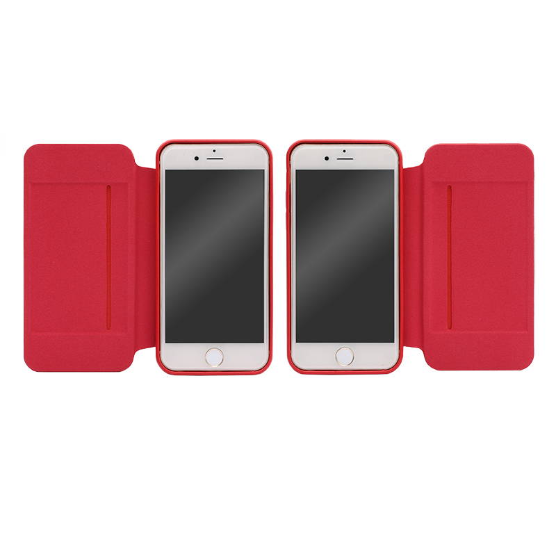 iPhone 6 Plus/6s Plus フリップ脱着型PUレザーケース「2WAY」 レッド