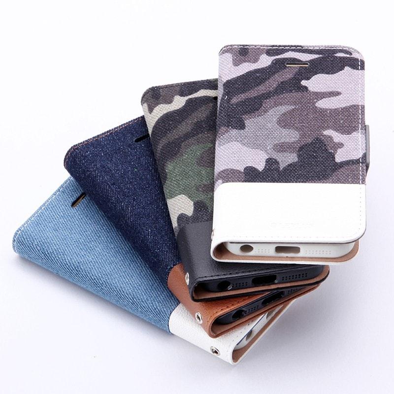 iPhone SE/5S/5 薄型ファブリックデザインケース 「PRIME Fabric」 デニム柄(A)