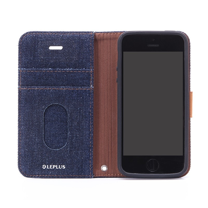 iPhone SE/5S/5 ファブリックデザインケース 「BOOK Fabric」 デニム柄(A)