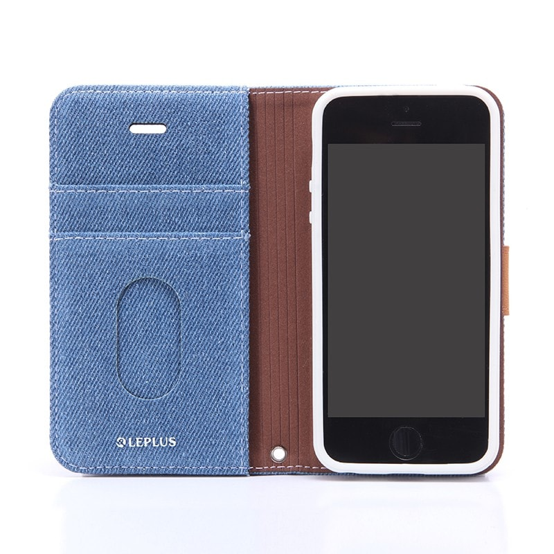 iPhone SE/5S/5 ファブリックデザインケース 「BOOK Fabric」 デニム柄(B)