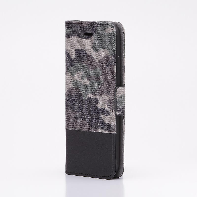 iPhone7 薄型ファブリックデザインケース「CAMOUFLAGE」 グリーン/ブラック