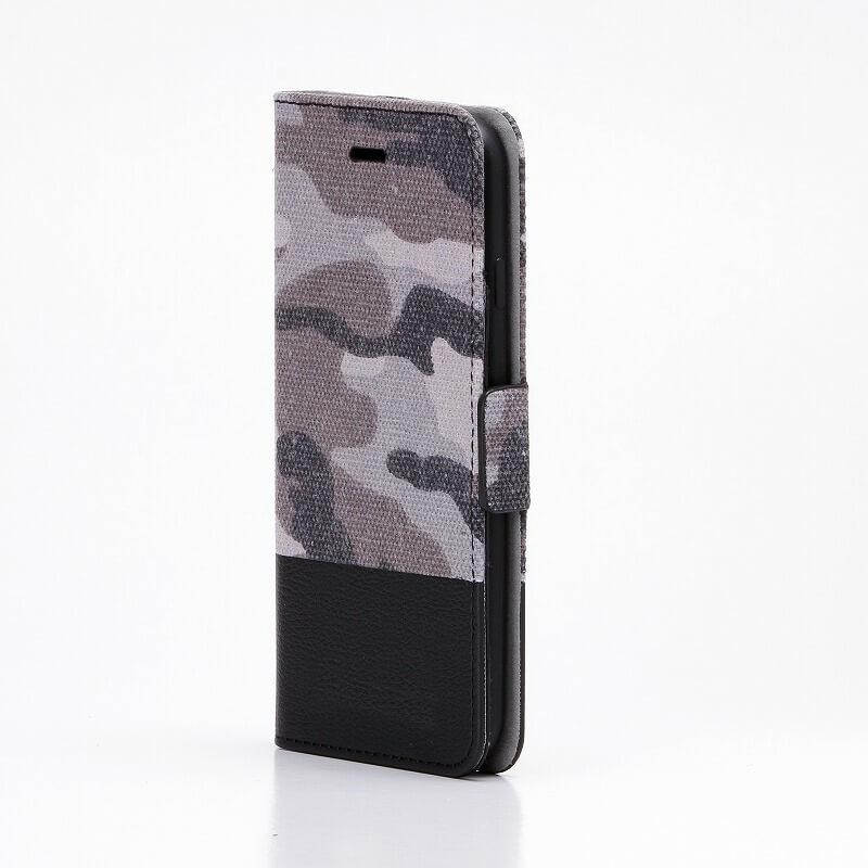 iPhone7 薄型ファブリックデザインケース「CAMOUFLAGE」 グレー/ブラック