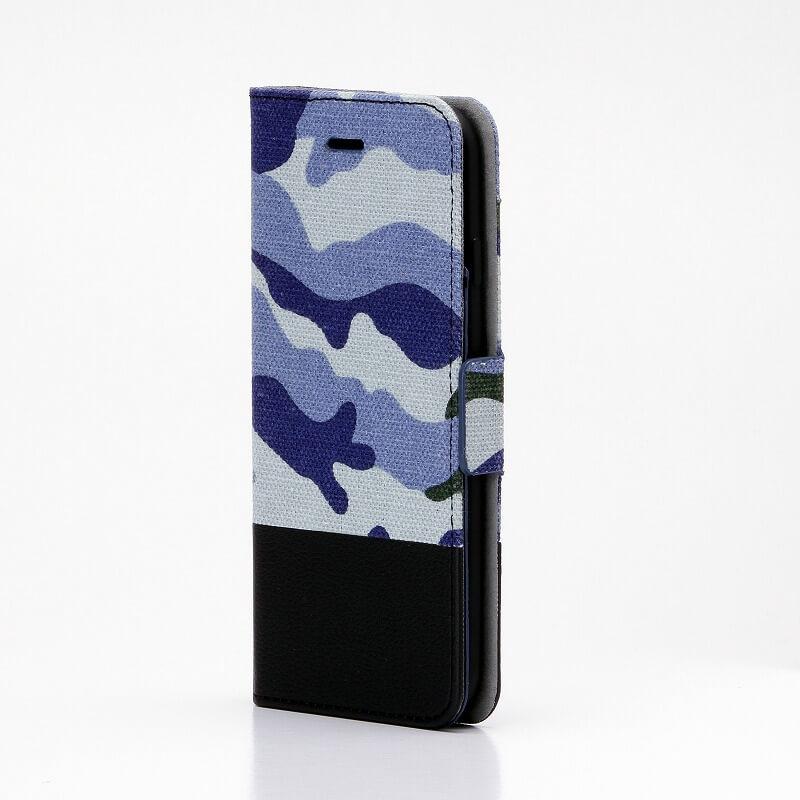 iPhone7 薄型ファブリックデザインケース「CAMOUFLAGE」 ブルー/ブラック