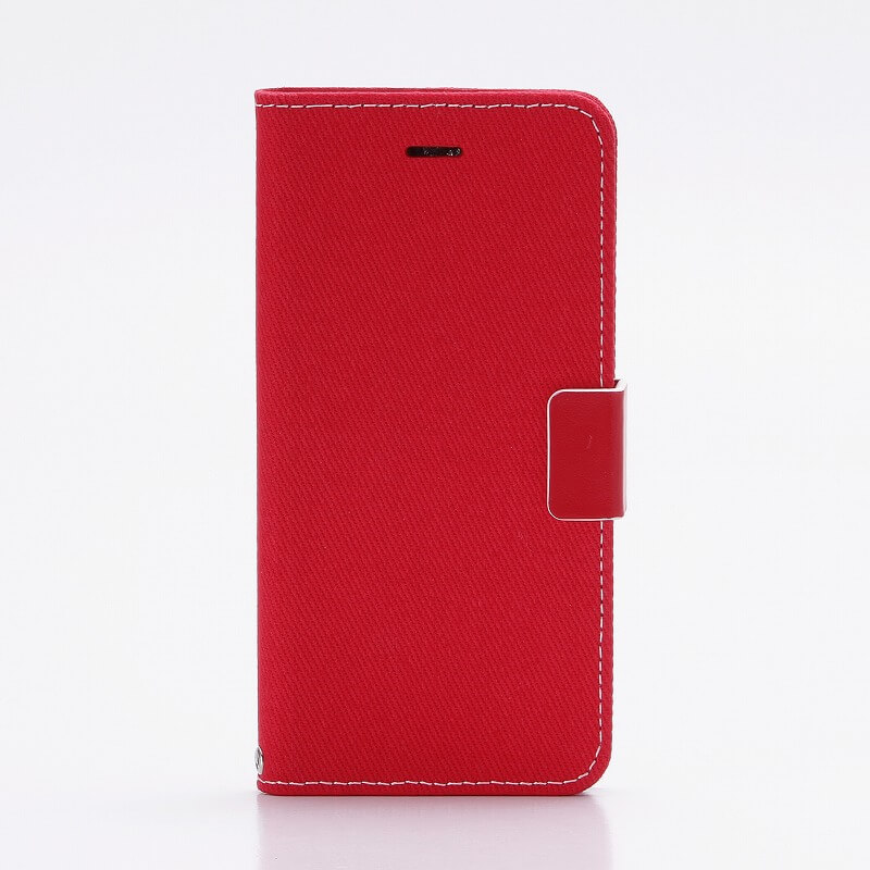 iPhone7 薄型ファブリックデザインケース「CASUAL」 レッド