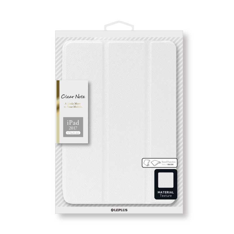 iPad 2017 9.7inch/iPad 2018 9.7inch 背面クリアフラップケース 「Clear Note」 ホワイト