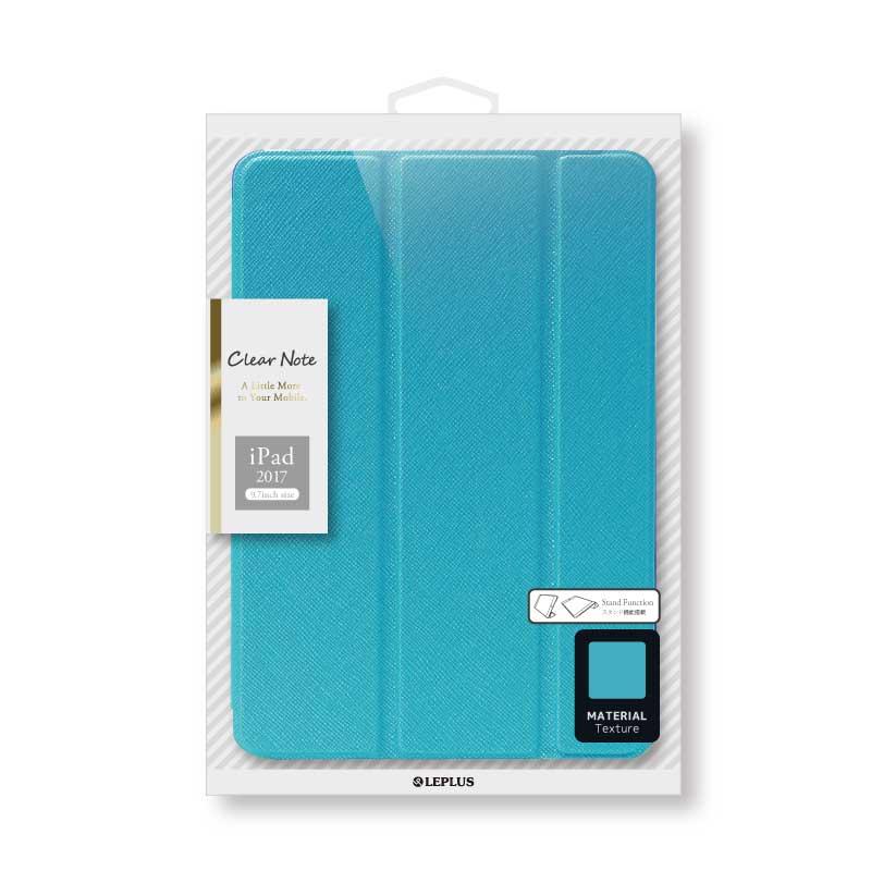 iPad 2017 9.7inch/iPad 2018 9.7inch 背面クリアフラップケース 「Clear Note」 ブルー