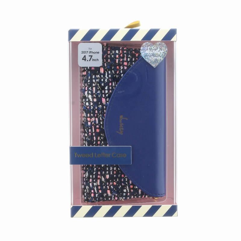 iPhone 8/7【Lucy】ツイードレター型ケース/ネイビー
