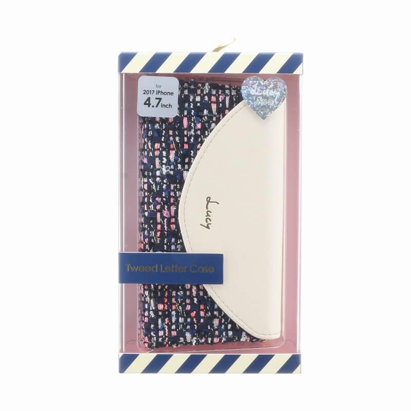 iPhone 8/7【Lucy】ツイードレター型ケース/オフホワイト