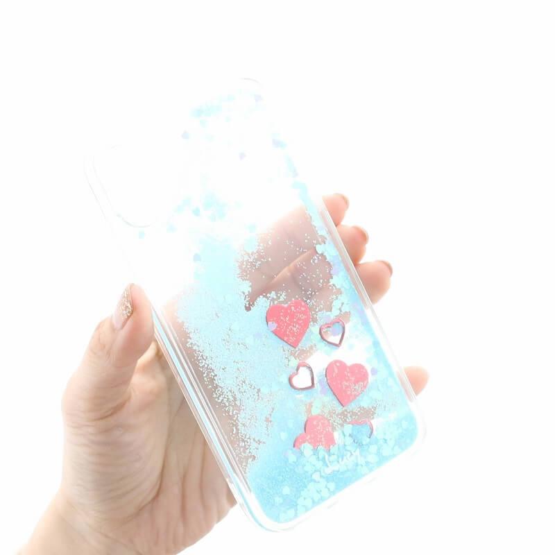 iPhone 8/7【Lucy】ハートグリッターハイブリットケース/ブルー
