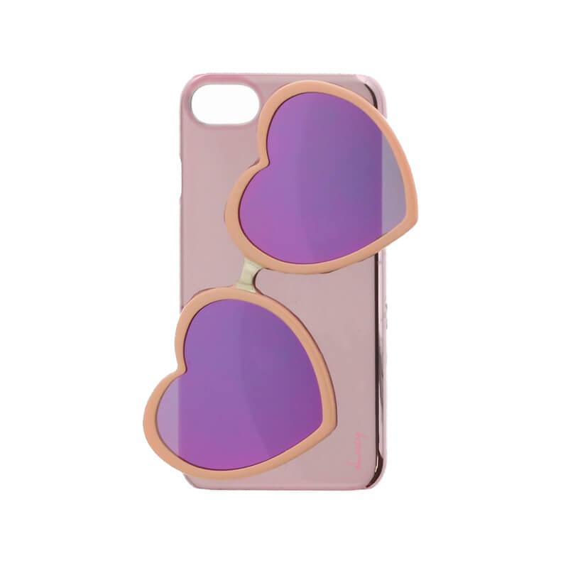 iPhone 8/7【Lucy】ハートミラーサングラス付ハードケース/ピンク