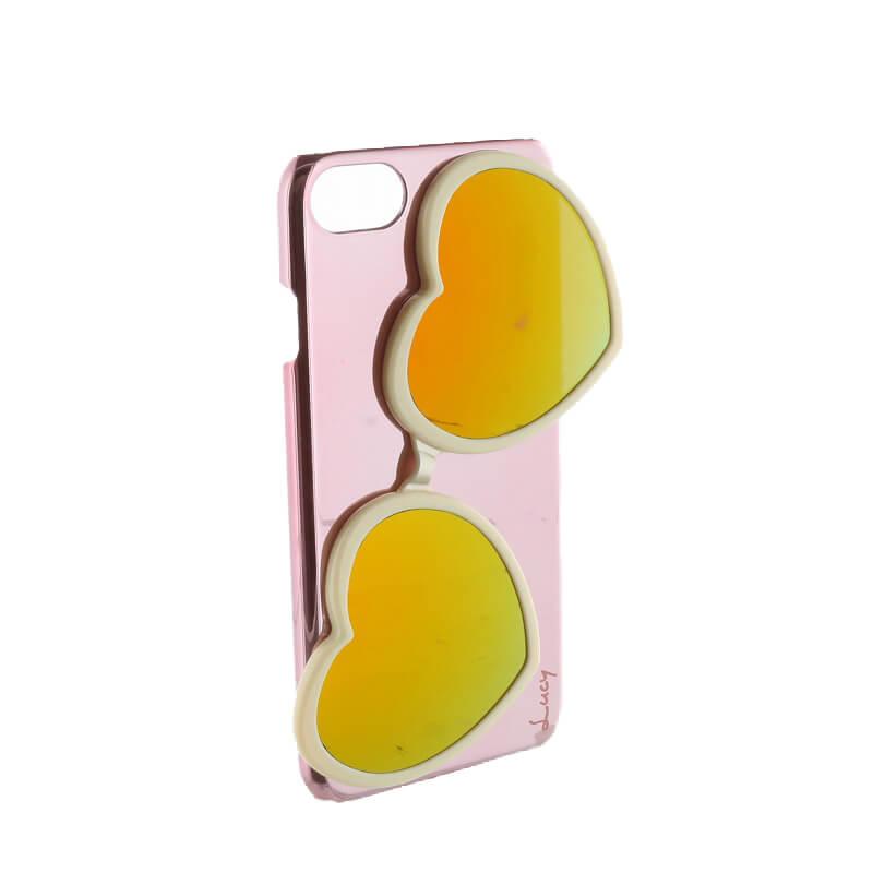 iPhone 8/7【Lucy】ハートミラーサングラス付ハードケース/ホワイト