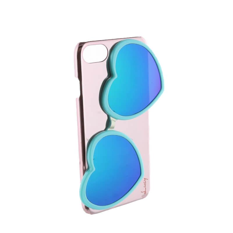 iPhone 8/7【Lucy】ハートミラーサングラス付ハードケース/ターコイズ