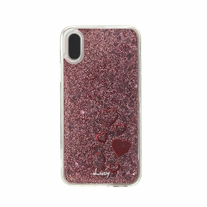 iPhone X【Lucy】ハートグリッターハイブリットケース/ピンク