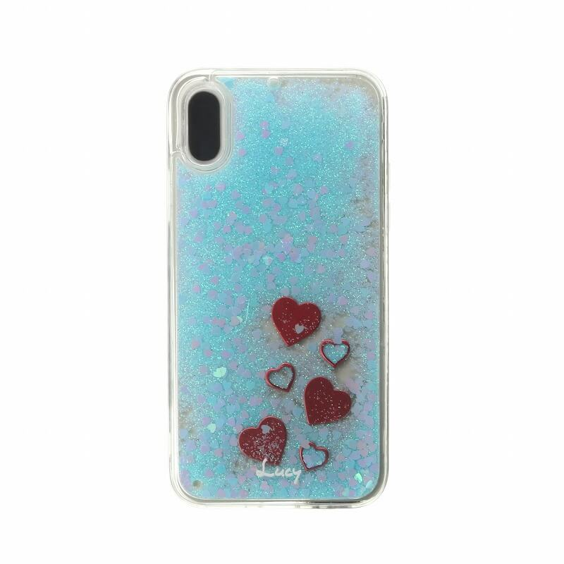 iPhone XS/iPhone X 【Lucy】ハートグリッターハイブリットケース/ブルー