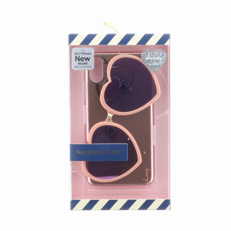 iPhone X【Lucy】ハートミラーサングラス付ハードケース/ピンク
