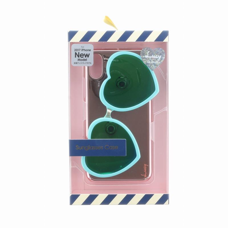 iPhone X【Lucy】ハートミラーサングラス付ハードケース/ターコイズ