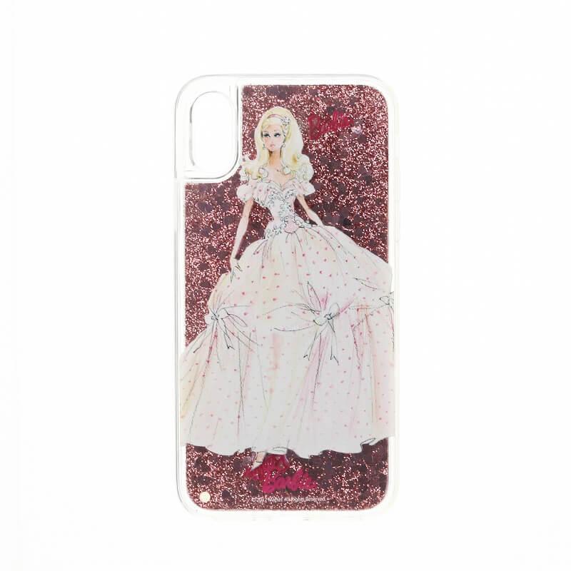 iPhone X/Barbie Design/グリッターハイブリットケース/ピンク