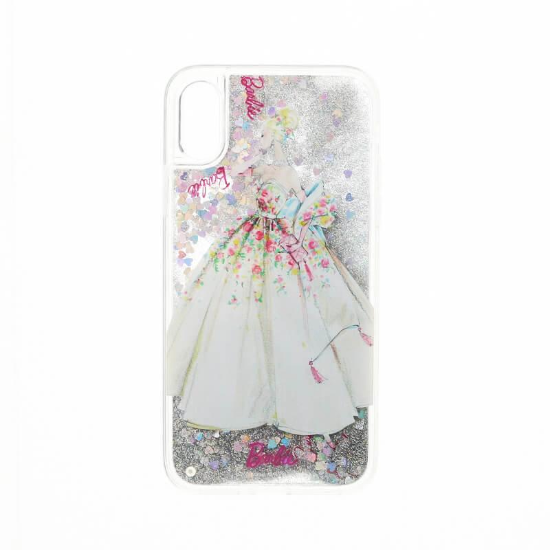 iPhone X/Barbie Design/グリッターハイブリットケース/シルバー