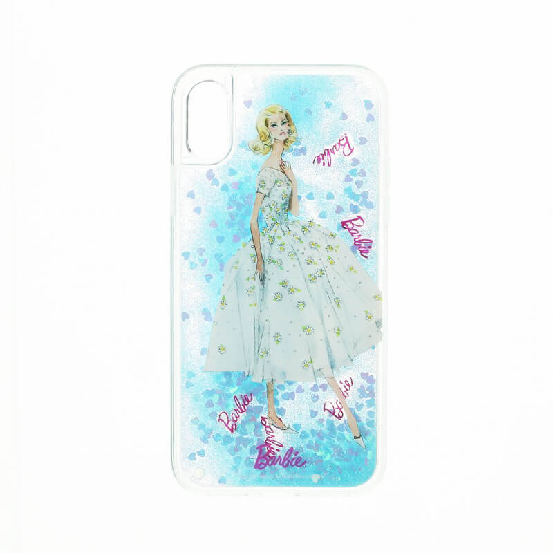 iPhone X/Barbie Design/グリッターハイブリットケース/ブルー