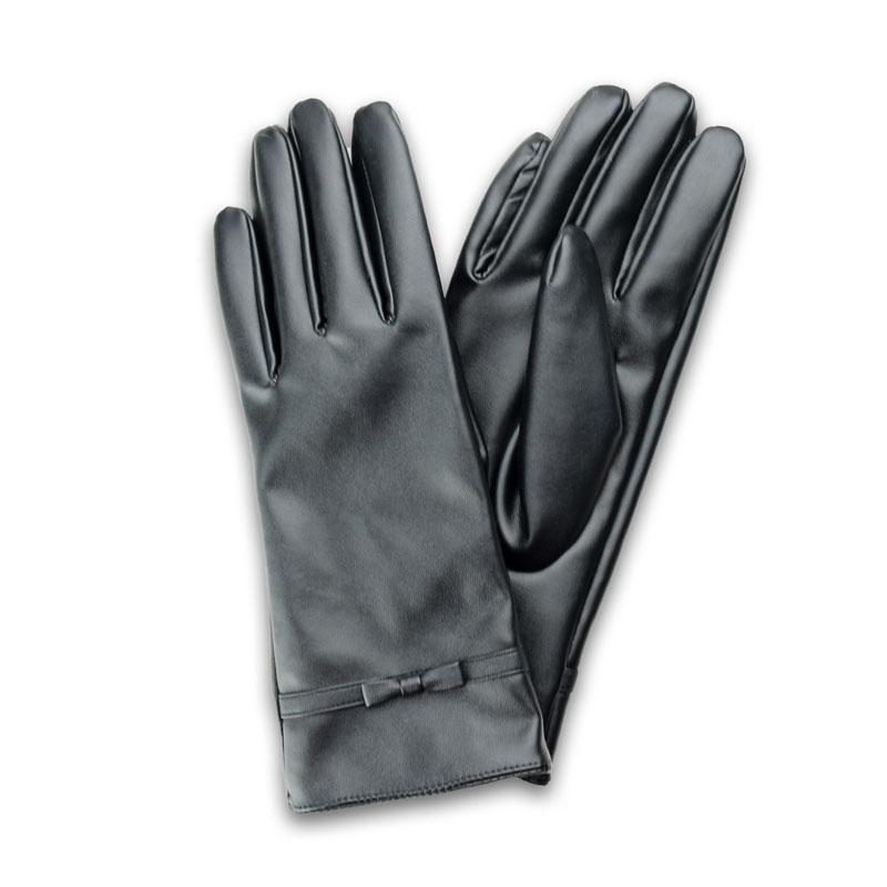 スマートフォン対応手袋「Lucy. Gloves」 ブラックレザー/リボン