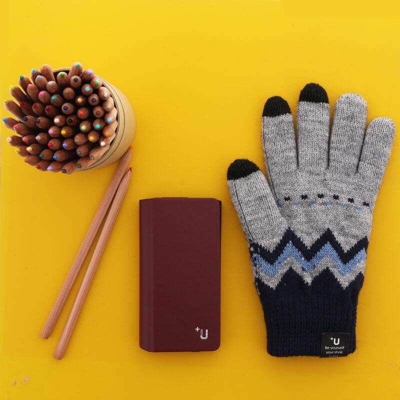 スマートフォン汎用 【+U】Delanna/スマートフォン対応手袋/グレー