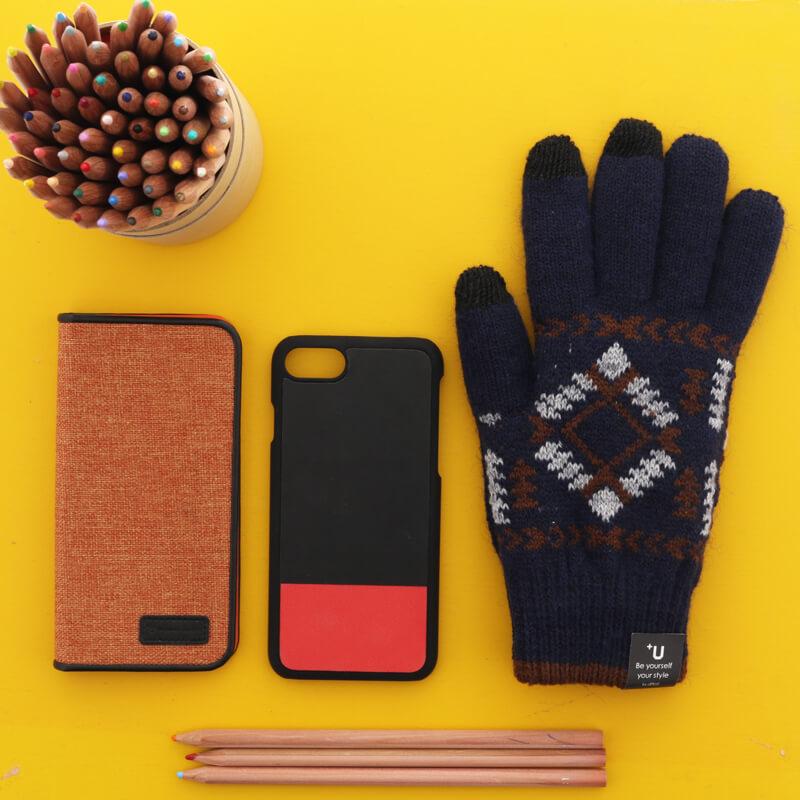 スマートフォン汎用 【+U】Delanna/スマートフォン対応手袋/ネイビー