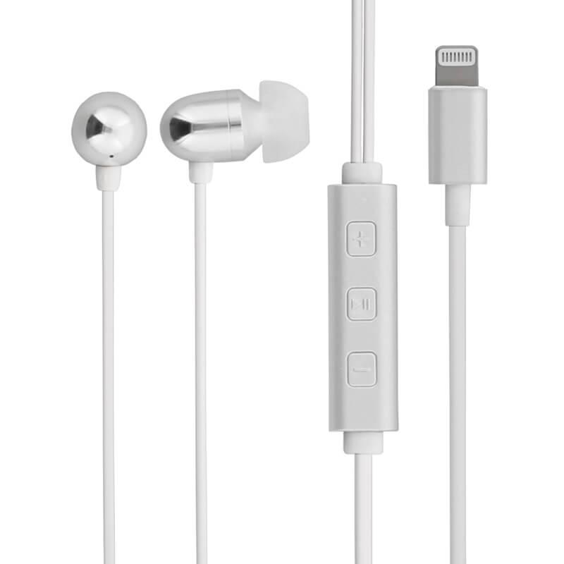 iPhone/iPad/iPod Lightningコネクタ対応イヤフォン(ボリューム/マイク付) 「極の音域 Hi-Res ANTARES(アンタレス)」 シルバー