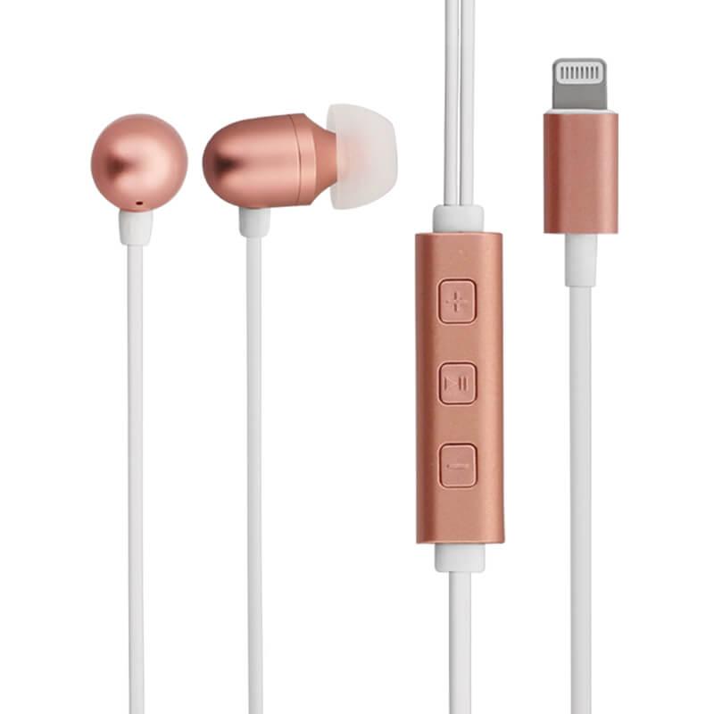 iPhone/iPad/iPod Lightningコネクタ対応イヤフォン(ボリューム/マイク付) 「極の音域 Hi-Res ANTARES(アンタレス)」 ローズゴールド