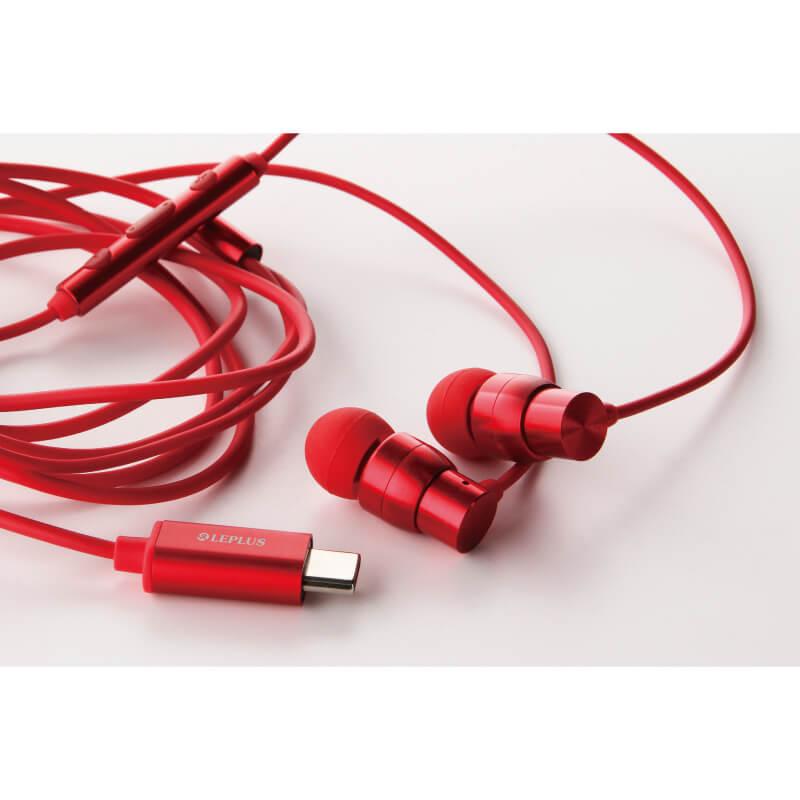 スマートフォン(汎用) イヤフォン(ボリューム/マイク付)「極の音域 Type-C Premia」 レッド