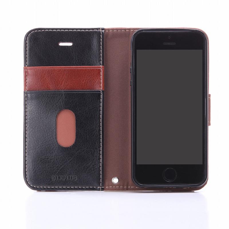 iPhone SE/5S/5 PUレザーケース 「BOOK」 ブラウン