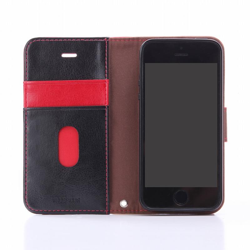 iPhone SE/5S/5 PUレザーケース 「BOOK」 レッド