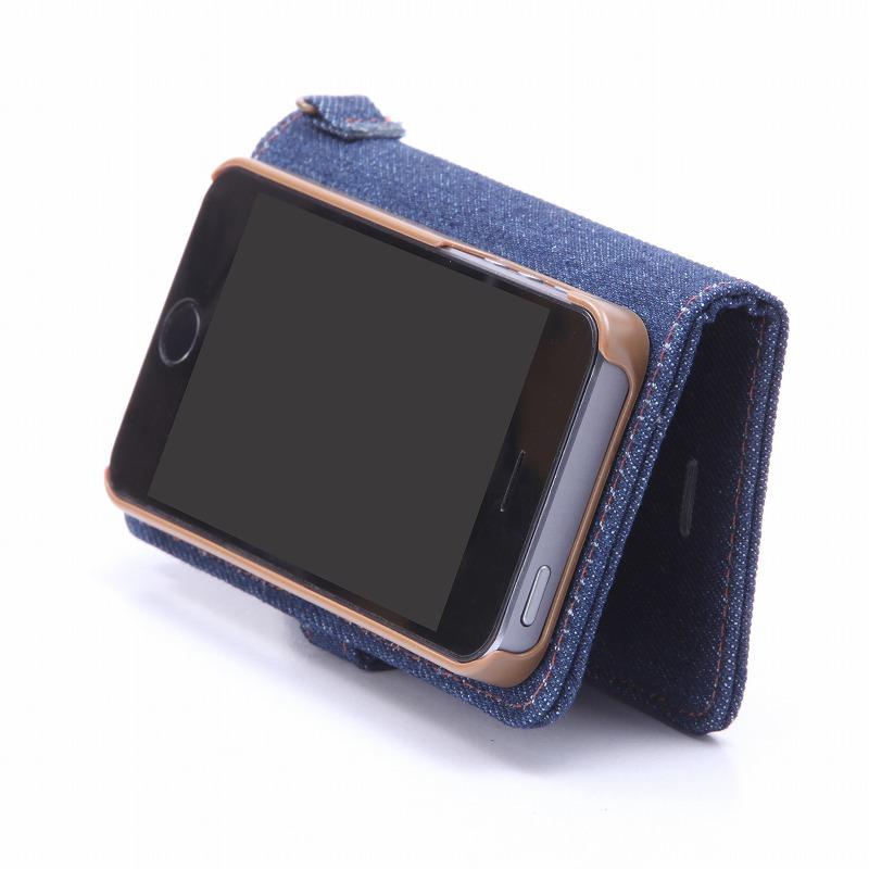 iPhone SE/5S/5 【+U】Monica/Design Flap Case/デニム柄(A)