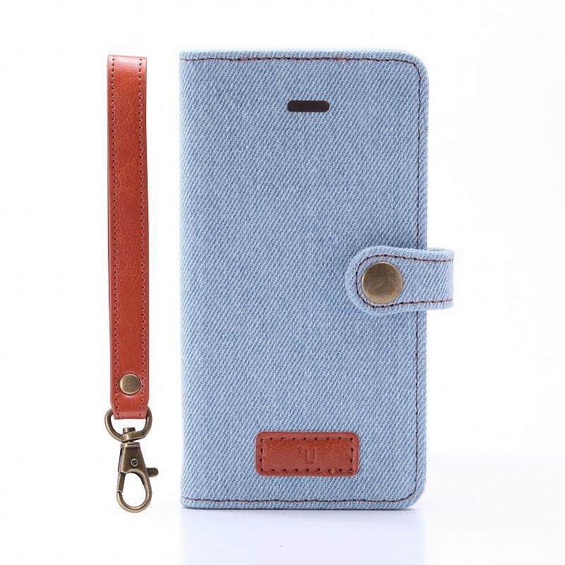 iPhone SE/5S/5 【+U】Monica/Design Flap Case/デニム柄(B)