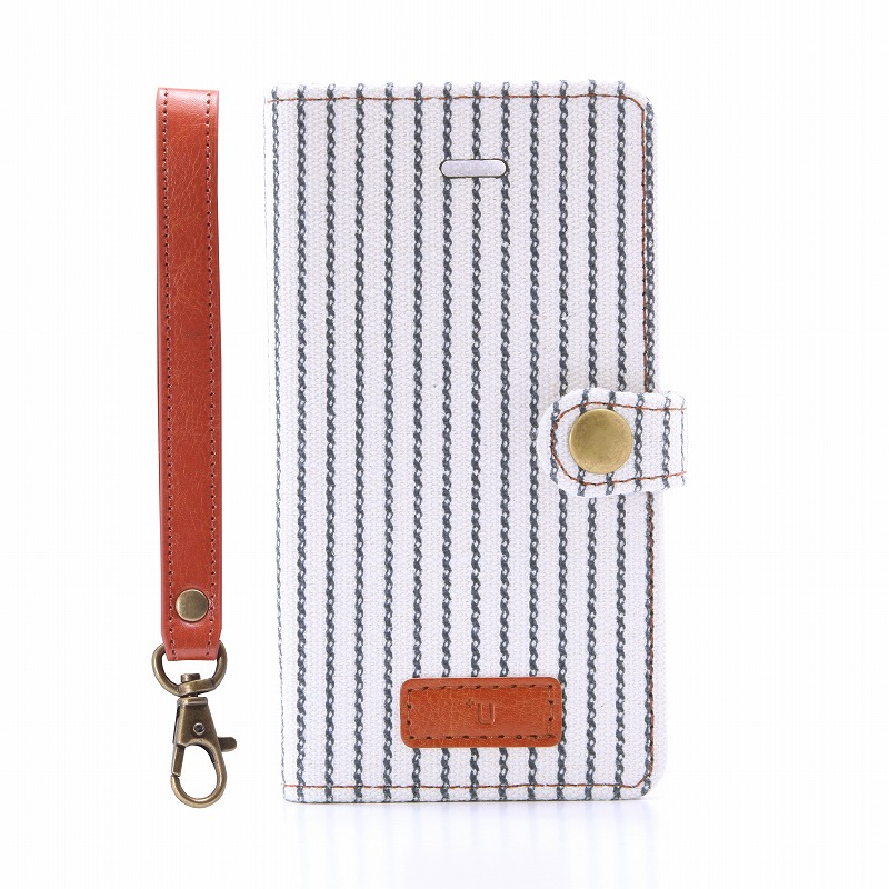 iPhone SE/5S/5 【+U】Monica/Design Flap Case/ストライプ柄